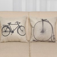 amazon massage - 2016 Sale Cushion Cover Decorative Pillows Funda Cojin Foreign Trade Export Amazon Explosion Models Old Bicycle Linen Pillow