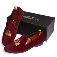Wholesale Harpelunde Comfortable Shoes Men Dress Wedding Red Velvet Shoes Embroidery Loafers Handmade Leather Lining Size