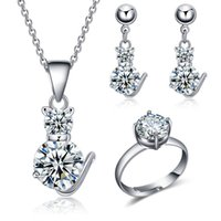 Wholesale White Gold Plated Women Jewelry Sets Cute Cat Shape Cubic Zirconia Wedding Resizable Round Cut Rings Drop Earrings and Necklaces Piece Sui