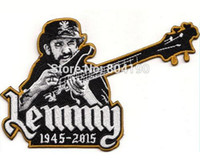 Wholesale 6 quot LEMMY Kilmister Guitar Patch Tribute Motorhead ace of spades Music Band Embroidered biker vest back APPLIQUE Rock Punk Badge