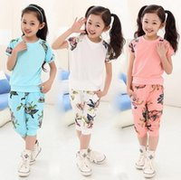 Wholesale 5 years summer children s clothing set girls flowers short floral t shirt leisure pants kids suits