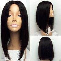 Wholesale Centre Part Glueless Malaysian Human Hair Full Lace Wig Front Lace Wig Fashion Bob Wig Natural Color