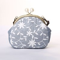 bead girl bags - Circular Beads Girls Handbags Floral Lace Preppy Style Versatile Soft Cotton Fabric Mini Lady Shoulder Bags