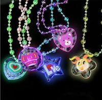 Wholesale 12Pieces Children Cartoon LED Necklace Chain Pendant Neckchain Acrylic Clear Flashing Necklet Kid Fashion Jewelry Toys