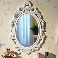 bathroom mirror white frame - 2015 European Vintage Bedroom Framed Mirror Elliptical Bathroom Emboss Flower Toilet Glass Mirrors Home Decor Barber Shop K5453