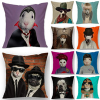 Wholesale 1pc Dog Cat Animal Cosplay Star Printed Home Decor Throw Pillow Case Cotton Linen Sofa Waist Cushion Cover