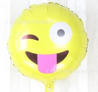 aluminium faces - 2016 inches Big promotion Cartoon Smiling face expression Aluminum film Birthday Decoration Balloon for Kids Party Supplies QU19
