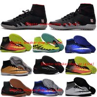 Wholesale Top Mercurial Superfly V Football Cleats Men Soccer Cleats Indoor Soccer Shoes CR7 Superfly Indoors Soccer Boots Hypervenom Phantom II TF IC