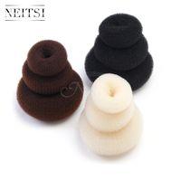 Wholesale Neitsi Hair Donut Bun Ring Shaper Styler Maker Hair Accessories Fashion Design For Womens Girls Black Beige Brown Color set