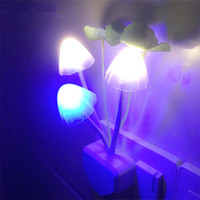 Wholesale Small Plugging Lamp - Romantic Colorful LED Mushroom Night Light colorful small led light night lamp plug energy saving wall lamp bedroom bedside lighting gadget