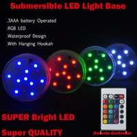 Wholesale DHL sets home decoration Multi color LED vase light submersible led light with remote controller