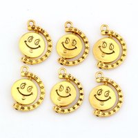antique mic - MIC Antique Gold Zinc Alloy Smiley face charm pendants DIY Jewelry18 x25mm