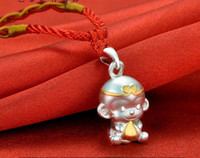 chinese jade jewelry - Paris shows silver S999 silver hoops monkey necklace pendant speaks Chinese zodiac jewelry female