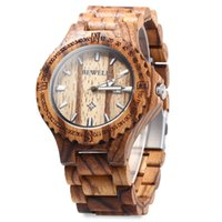 Wholesale BEWELL Brand Men Wooden Watch New Year Gift Bangle Quartz Watch with Calendar Display role men relogio masculino watches Relojes