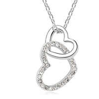 Wholesale Wedding Jewelry Heart Crystal Pendant Fashion Necklace K White Gold Plated Make With Swarovski Elements colors
