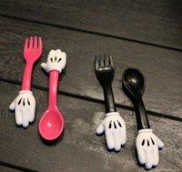 Wholesale Kitchen Utensils Baby - Baby Minnie Mouse Spoon Fork Set Measuring SPOON Set Flatware Kitchen Fork Spoon Set Utensil Baby Fun Meal LJJK572