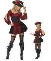 best pirate costumes - Best Selling Sexy Adult costumes Red Pirate Costume Caribbean Costumes Pirate Women Cosplay Costume M4392