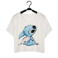 animal clubwear - Sea mao Women Fashion Tops Printing White Sexy Summer Crop Tops Clubwear T shirt XL Plus Size