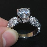 Vintage de señora Luxury 925 Dragón garra de la joyería Montura en punta del dedo del anillo de bodas de diamante de la CZ anillo de piedras preciosas 3ct para las mujeres