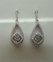 genuine diamond earrings - Genuine Sterling Silver Earrings with Dancing Diamond Crystal Women Drop Dangle Earrings Jewelry Charms for Bridal Earrings DE26310A