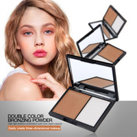 Multicolor anti double - Hot Face Powder Palette Magical Halo Double Color Stereo Bronzing Powder style Concealer Powder Bronzing Silhouette Powder Lasting Beauty
