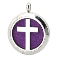 Wholesale 1pcs mm magnet cross Aromatherapy Essential Oil surgical Stainless Steel Perfume Diffuser Locket Necklace with chain and felt pads