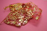 bag gold jewellery - wholesale200pcs Red Gold Roses colour Organza Bags x9cm cm Wedding Favour Gift bag Jewellery pouches