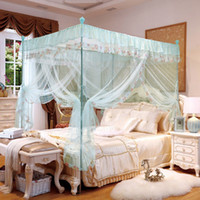 Wholesale New Design Three Doors Mosquito Net Quadrate Mesh Bedding Canopy Palace Style Bed Curtain Mosquito Net for Double Bed JQ0041