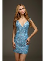Cheap 2016 Sexy Open Back Tight Fitted Sheath Mini Blue Homecoming Dresses V Neck Sparkly Beaded High School Custom Homecoming Gowns HY1424