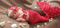 baby fairy outfits - Mermaid New Newborn Baby Crochet Diamond Knit Costume Photography Prop Outfit Cotton Red Mermaid headband pc Set A5767