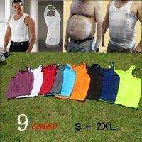 Wholesale Men Body Shaper Body Colors S XL Slimming Tummy Shaper Vest Slimming Underwear Corset Waist Muscle Girdle Shirt Fat Burn Vest LJJH1373