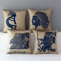 ancient decor - 18 quot Square Ancient Indian Tribe emoji Cotton Linen Cushion Cover Sofa Decorative Throw Pillow Chair Car Home Decor Pillow Case almofadas