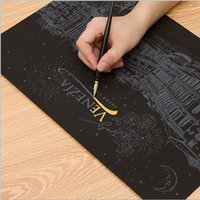 Wholesale DHL Magic Scratch Art Decorative Painting Night View Scratch World Sightseeing Art Postcards Pictures Seoul Las Drawing Toys for Children
