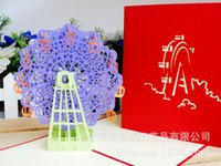 Wholesale Violet Ferris Wheel Three dimensional Greeting Card DIY Manual Originality Architecture Paper Sculpture Greeting Card Can Customized