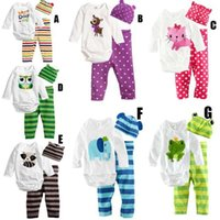 baby pants climb - Korean Cute Baby Jumpsuit Cartoon Print Infant Cotton Climbing Clothes Romper Hat Kids Three piece Set Children Clothing Harem Pants K122