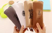 Wholesale Vintage Canvas Pencil Case Pen Bag Cosmetic Makeup Coin Pouch Zipper Bag Purse