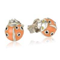 autumn earrings - 2016 Autumn Style Sterling Silver Orange Enamel Ladybug Animal Stud Earrings For Women No50 lw ER1015