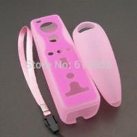 al por mayor bolsa para el teléfono rosado-Caso de la cubierta de color rosa suave del silicio bolsa de la piel para Nintendo Wii Nunchuk remoto cubierta para el teléfono móvil