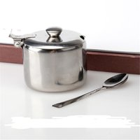 Wholesale New Home decor cooking tools Mini Pot Tea Sauces Coffee Jam Lid Salt Spoon Bowl Sugar box Stainless Steel