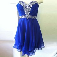 aline cocktail dress - Royal Blue Short Homecoming Dresses Sweetheart Pleated Crystal Beaded Chiffon Short Prom Dresses Aline Cocktail Dresses