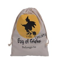 Wholesale DHL New style Halloween Canvas Cotton Drawstring Children Candy Gifts Bag Party Pumpkin spider Bags