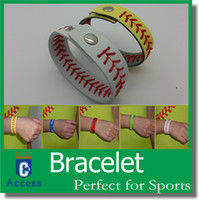 Charm Bracelets baseball seam bracelets - Discount cheapest real leather yellow softball seam bracelets and white baseball seam bracelet with