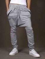 Pantalones elásticos del deporte del bolsillo de la cintura de los pantalones elásticos flojos del Harem del cordón de los hombres flojos del cordón para los hombres 2 M ~ XXL del color de los hombres más tamaño 24