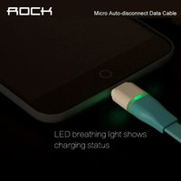 auto control cables - ROCK Original Auto disconnect Data Cable Sync USB Cable For Micro Android Intelligent Control Chip m LED phone Cable Line