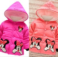 Wholesale 2016 Winter nYears Cute Cartoon Mickey Kids Children Baby Girls Snowsuit Long Sleeve Hooded Down Coat Cotton Outerwear Clothes MC0167