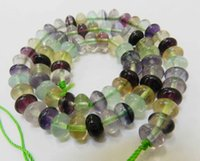 abacus bead - New x8mm Natural Multicolor Fluorite Abacus Gemstone Loose Beads quot AAA