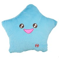 Wholesale Home Textiles Aqua Color Smile Star LED Light Lamp Throw Toss Decorative Cushion Pillow Available for Shipment Exclusively within the U S