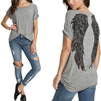 angels top cap - Summer Style Fashion Angel Wings Tropical Print Female Camisetas Short Sleeve Casual Loose Plus Size Top Women harajuku T Shirt
