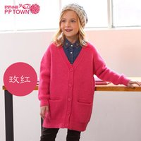 Wholesale good quality Autumn And Winter new arrival Girls children Long printing sweater coat screw thread Blending Loose Leisure Cardigan