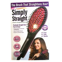 Wholesale simply straight ceramic electric degital control antiscaled hair straightener brush comb with lcd display DHL